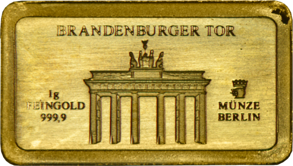 1 Gramm Gold Barren Brandenburger Tor
